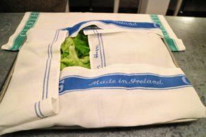I also prepared the greens for the salad. After washing, lettuce should be patted dry, and then either used immediately or layered between clean tea towels in the refrigerator's crisper to preserve the taste and texture.