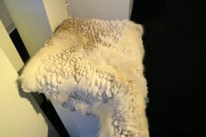 Some pieces are meant to serve as accessories, such as this furred throw.