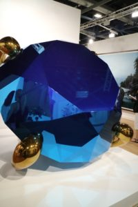 """This view is of the piece """"Diamond (Blue),"""" by artist Jeff Koons."""