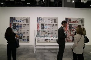 Some of the works are have very political themes. Here is a text-based triptych by Rirkrit Tiravanija in the Gavin Brown booth. This three-panel collage shows the entire issue of The New York Times published the day after Donald Trump was elected President.