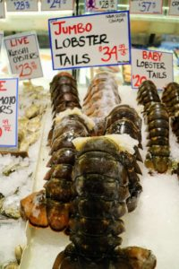 These jumbo lobster tails weigh nearly two pounds each! The fish market  attracts up to 10-thousand visitors every day.
