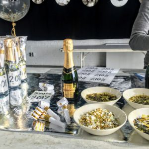 "For this Facebook LIVE, we showed a selection of party ideas for ringing in the New Year, but they can really be geared to planning any occasion. Here, we have a ""bubbly bar"" with lots of fun mix-ins to add to your glasses of champagne."