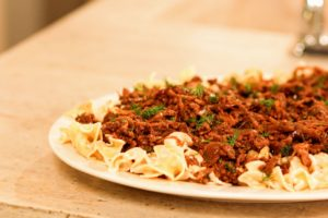 This dish is our saucy beef & mushroom with creamy egg noodles.