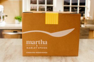 The ingredients and the recipes are in the box when it arrives. Each recipe is also saved on the Martha & Marley Spoon app, so you can always refer to your favorites.