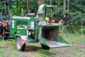 The cut tree branches go through the wood chipper, a machine used for reducing tree limbs and smaller trunks.