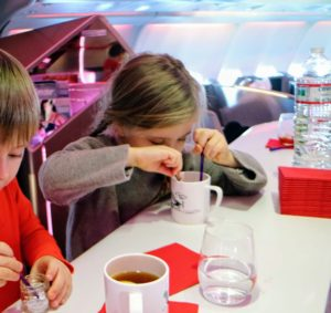 This is the bar on the plane - the children enjoyed some tea with honey. At four and five years of age, they are excellent travelers.