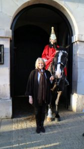 Here I am with one of the Queen's Guards. The Life Guards, although not the oldest, is the most senior regiment of the British Army. They were formed by Prince Charles, later King Charles II, when he was exiled at the end of the civil war from loyal followers who traveled with him to Holland.
