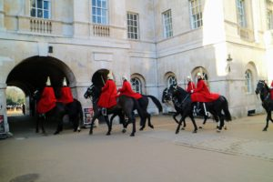 The Life Guards who always ride black horses, wear long red cloaks with blue collars during inclement weather.