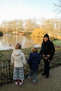 Here are Jude, Truman and their nanny, Beverly. We were all so interested in the wildlife in London, especially the birds.