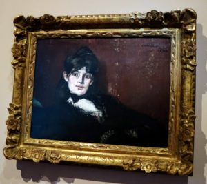 This was my favorite painting, Berthe Morisot painted by Manet. Berthe was married to Eugene Manet, brother of Impressionist artist, Edouard Manet. Edouard's portrait of Berthe hangs in a small salon off the dining room.