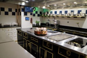 The kitchens are pristine with large prep tables and top of the line supplies.