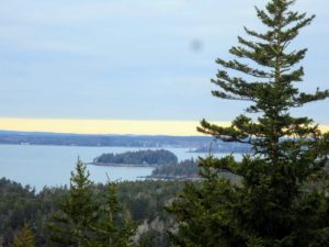 Also from the terrace, this photo shows Bear Island, a little island located just off Northeast Harbor, Maine and south of Mount Desert. The big spruce tree on the right is one of my favorites at Skylands.  When out at sea, we can see the very top of the tree.