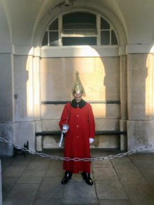 Life Guards have stood guard at Horse Guards, the official entrance to St. James and Buckingham Palace, since the Restoration of King Charles II in 1660. There are two main groups of guards - those without horses are called  foot guards.