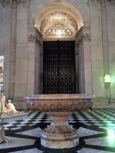 Inside the front doors is the cathedral's baptismal font, a blue veined Italian marble piece carved in 1727 by Francis Bird.