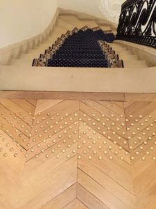 We admired the special nail head trim work at the top of the staircase.