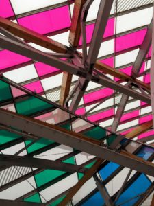 "This is called ""Observatory of light"", a multicoloured glass installation by Daniel Buren."
