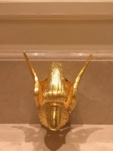 Here are the whimsical gilded swan taps.