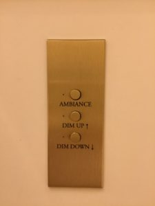 Even these light switches, which offered not only dim-up and down controls, but a button for ambient light.