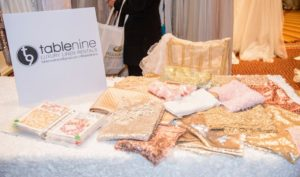 Here is a table display from Nine Luxury Linens Rentals.  (Photo by Chudleigh Weddings)