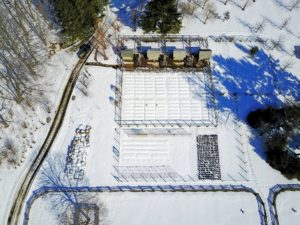 This is an overhead shot of my chicken coops and vegetable gardens covered with snow.