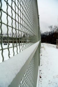 I love how the snow collects along the crossbars of the high fence enclosure surrounding my flower cutting garden.