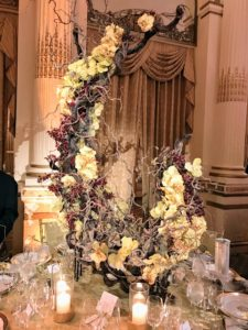 This elegant centerpiece was designed and donated by Drake/Anderson.