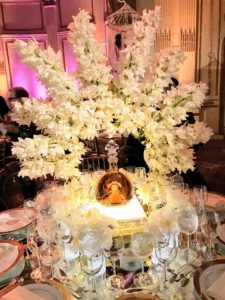 A gorgeous fan of orchids adorned this table by Villanueva Designs for Louis XIII.