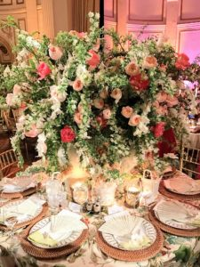 This was Kapito Muller's tropical spring table centerpiece with plates by my friend, and designer, Bunny Williams.