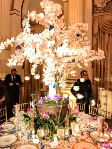 Bill Brockschmidt and Courtney Coleman chose lovely white orchids and a whimsical spring scene with butterflies for their fresh, nature themed table.