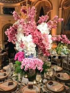 A fun palette of pinks and whites topped this table by Shelley Johnstone Design.