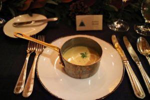 Here is the soup, served in a small saucepan - it was delicious.