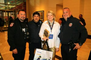 Here I am with three of the security guards at the NRG Stadium in Houston.