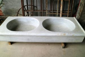 This is a 19th century marble sink from a villa outside Arezzo, Italy.