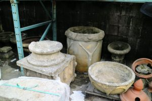 I noticed these right away - antique faux bois garden pieces, along with various terracotta fragments and pedestals.