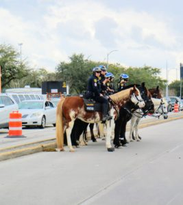 Outside the stadium was a team of more than four-thousand that secured a three-mile perimeter around the stadium. Here are members of Houston's mounted patrol.