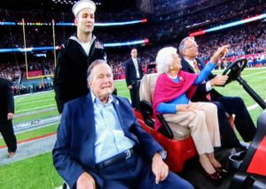 Former President George H. W. Bush, and his wife, Barbara Bush, came out for the coin toss. President Bush is currently our oldest living president.