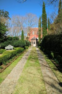 This is the driveway leading up to the property's 1806 Gothic Revival carriage house, and B&B.
