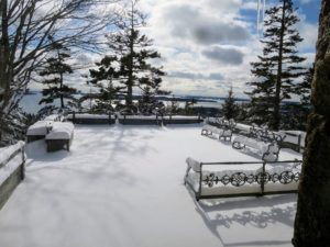 This is Terrace One looking out over Seal Harbor - such a stunning winter view.