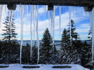 The icicles range from about a foot to several feet long. Here is a view of the harbor from Bedroom Three.