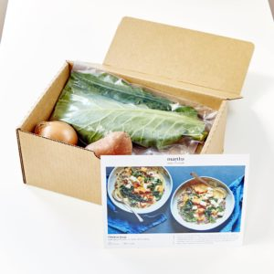 Every box is packed with pre-portioned ingredients to save time and to eliminate waste.