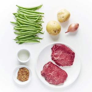 Here are the pre-portioned ingredients for our Steak and Potatoes with Green Bean Vinaigrette. And, don't worry, these portions are very generous – no one will be left hungry.