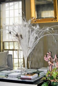 I love this vase of white peacock feathers - they are from my Black Shoulder Silver Pied peacock here at the farm.