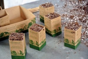 Fill each miniature pot with soil, and sow your seed. There is even a place on each container to note the variety and date sown.