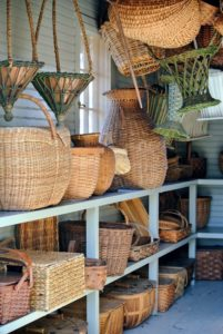 Basket weaving is the process of weaving or sewing pliable materials into two or three dimensional objects - anything that will bend and form a shape can be made into  basket.