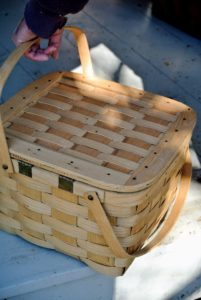 Here is a charming picnic basket or hamper.