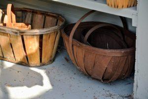 Many of the baskets had cobwebs.