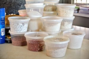As items were removed, they were organized by group - these are different types of salts that I have collected.