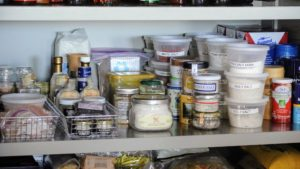 Less used items can be placed on lower shelves - always with labels facing front, so things are easy to identify.