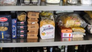 One entire shelf was dedicated to all my different pastas - assorted shapes including spaghetti, penne, rigatoni, fettuccine, lasagna, orzo, and couscous. Dried pasta can be stored in its original package until opened, then transferred to airtight containers. It is best used within one year of purchase.
