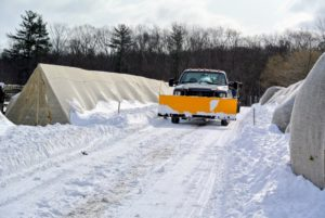 Here's my big plow, which is kept in the front of our farm pick-up truck during the winter months.